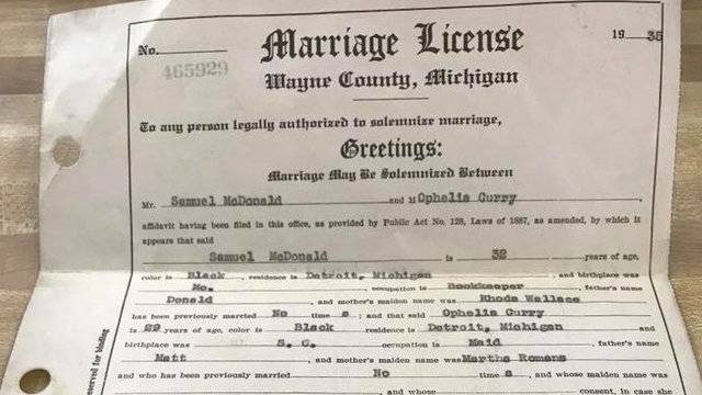 Woman hopes to find family of lost Michigan marriage license...