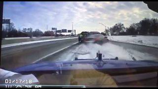 Tow truck driver narrowly dodges death when car goes airborne