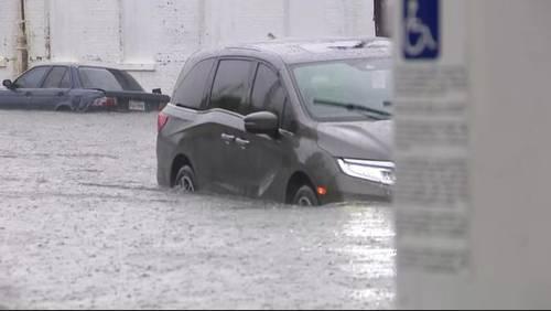Heavy rain leads to flooding in Galveston