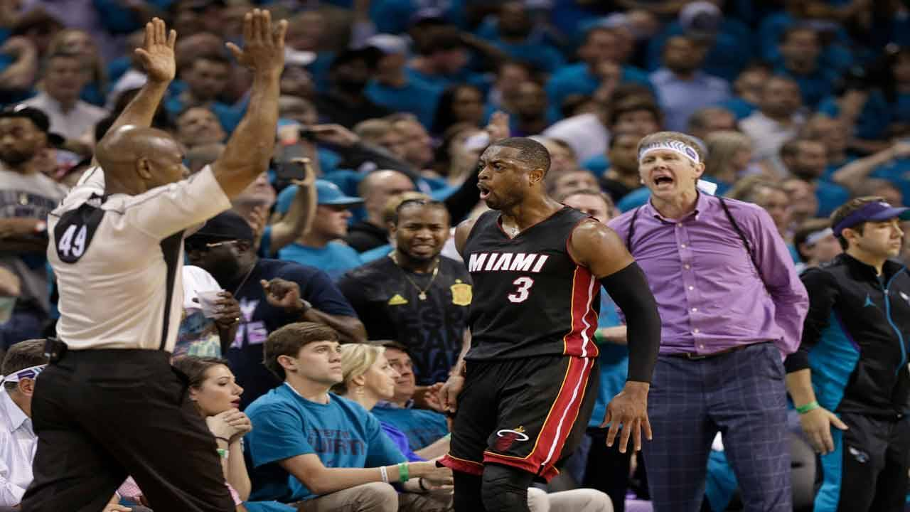 Dwyane Wade celebrates after 3-point shot vs Charlotte Hornets in Game 6 of 2016 playoffs