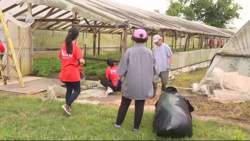 Volunteers help rebuild Rosharon greenhouses destroyed during Hurricane Harvey