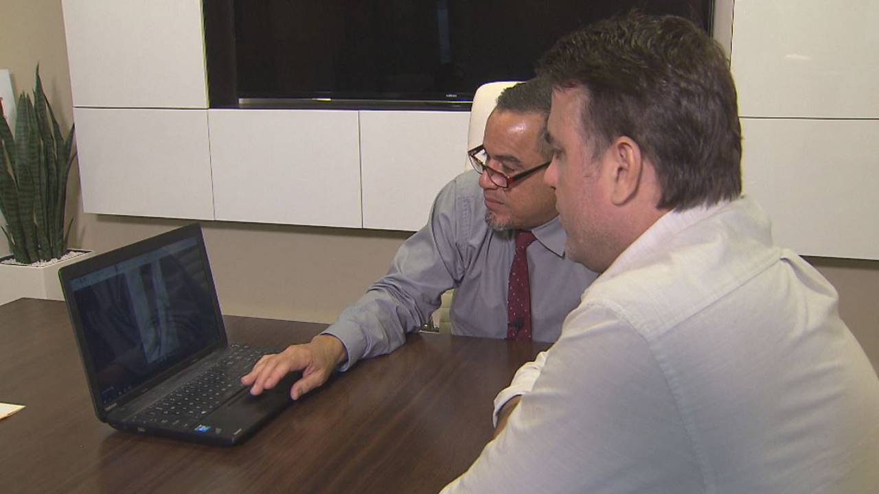 Abraham Sanchez shows Bob Norman cellphone video of arrest