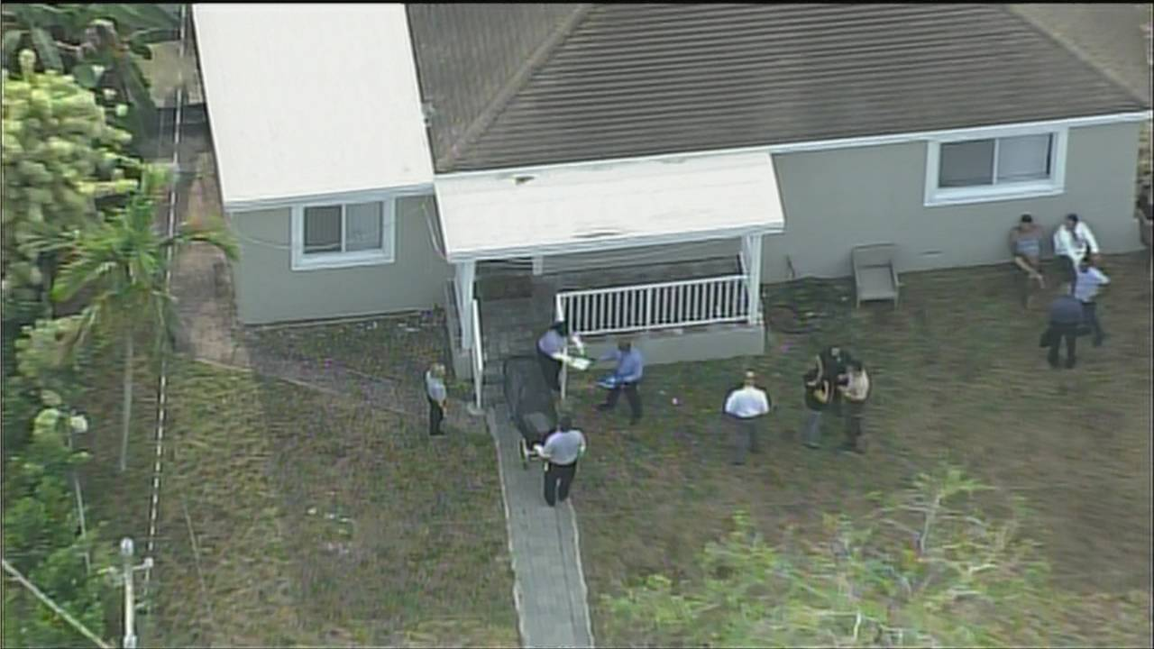 Sky 10 above North Miami home where male found dead