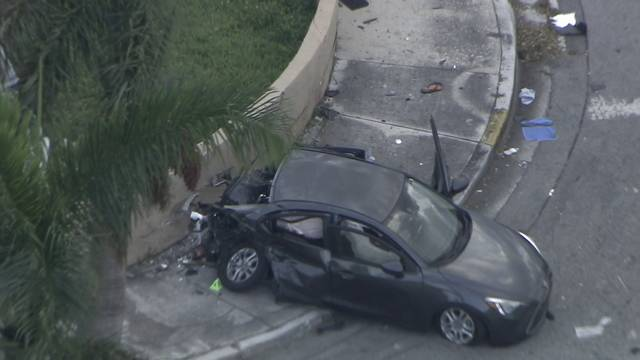 Sky 10 over crashed car on 137th avenue