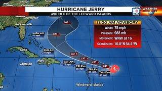 Jerry becomes hurricane, not expected to impact Florida
