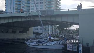 Sailboat loses power, gets stuck under bridge in Fort Lauderdale