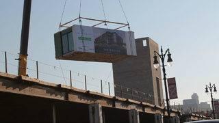 Detroit gets first modular housing 'drop' at former Tiger Stadium development