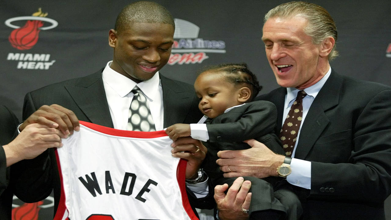 Dwyane Wade drafted by Miami Heat with Pat Riley