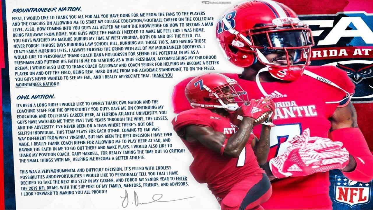 Fau Receiver Jovon Durante Says He S Leaving Early To Enter