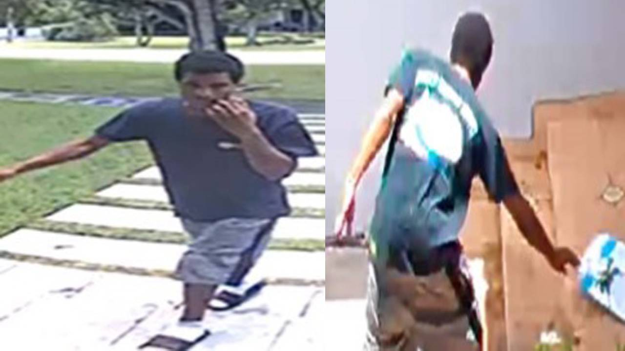 Man stealing packages in Miami Shores
