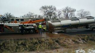 River of chocolate flows on Arizona highway after tanker overturns
