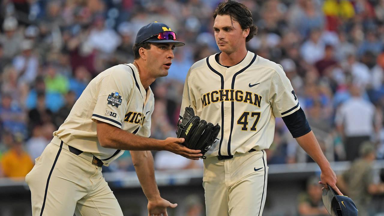 Tommy Henry Michigan baseball vs Vanderbilt College World Series CWS 3