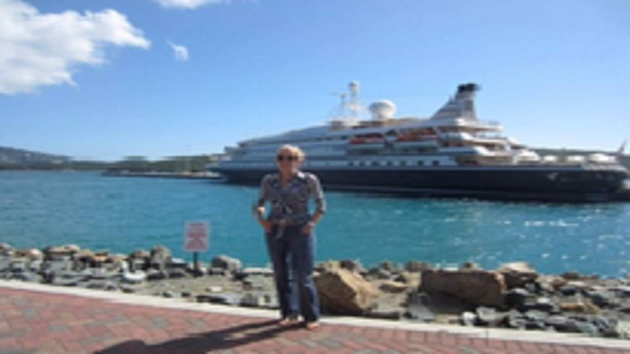 Alleged rape victim in front of cruise ship