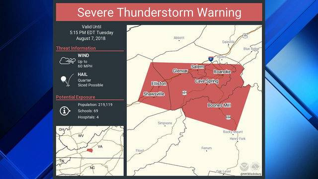 Severe Thunderstorm Warning In Effect For Roanoke And