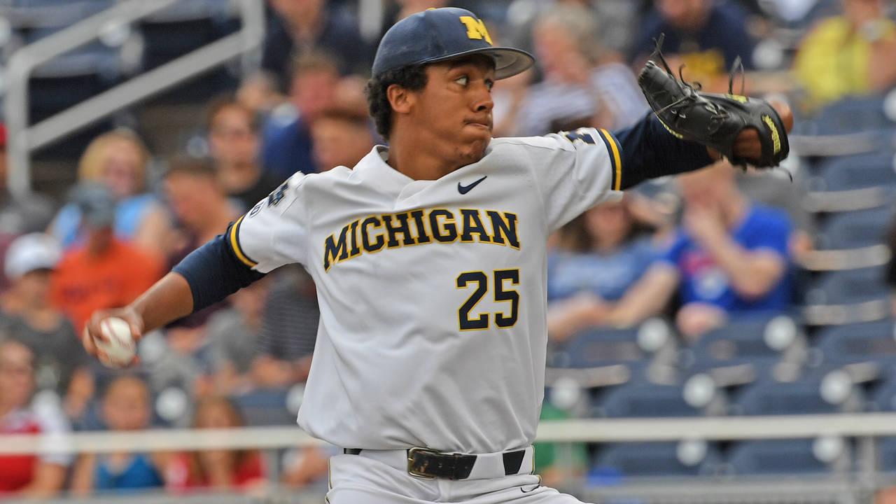 Isaiah Paige Michigan baseball vs Vanderbilt 2019 College World Series CWS