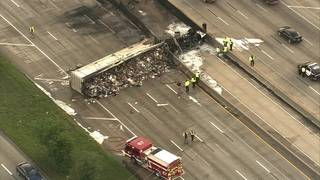 18-wheeler catches fire after multi-vehicle crash on North Freeway at West Road
