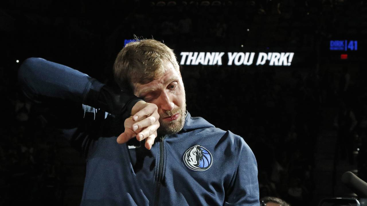 18f4f2a772bbe7 Dirk Nowitzki brought to tears during tribute video