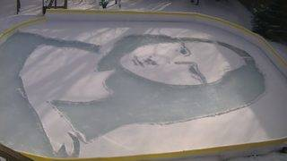Watch this man recreate 'Mona Lisa' on his backyard ice rink