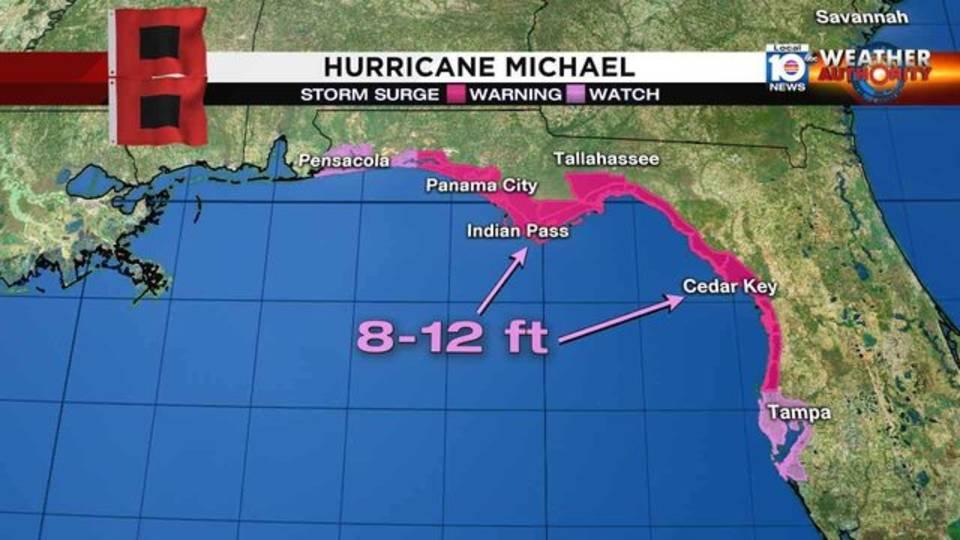 Hurricane Michael storm surge map 10918