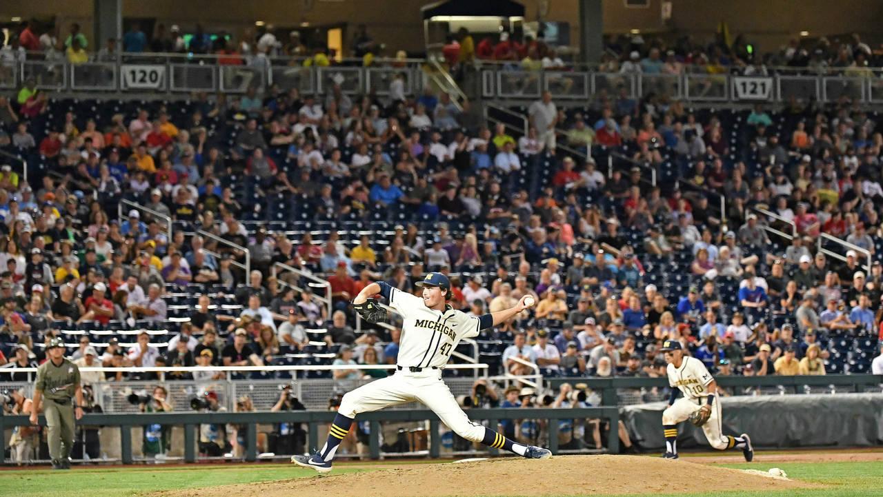 Tommy Henry Michigan baseball vs Vanderbilt College World Series CWS 2