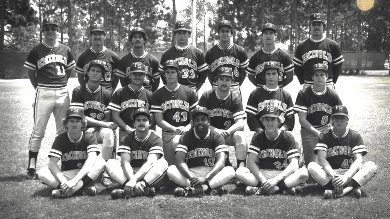 Mike Martin with 1980 Florida State Seminoles baseball team
