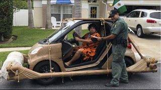 Florida man dressed as Fred Flintstone pulled over in 'footmobile'