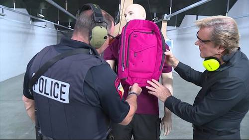 Testing bulletproof protection options for students in school