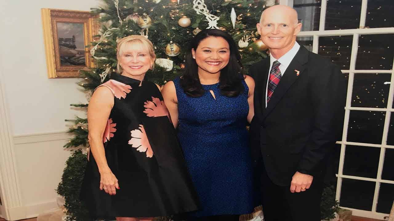 Gov. Rick Scott, first lady Ann Scott and press secretary Jeri Bustamante