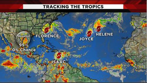 Tracking the tropics: Florence a Tropical Storm; Gulf development chances at 20 percent