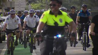 South Florida police officers gather in Miami Beach for annual unity bike ride