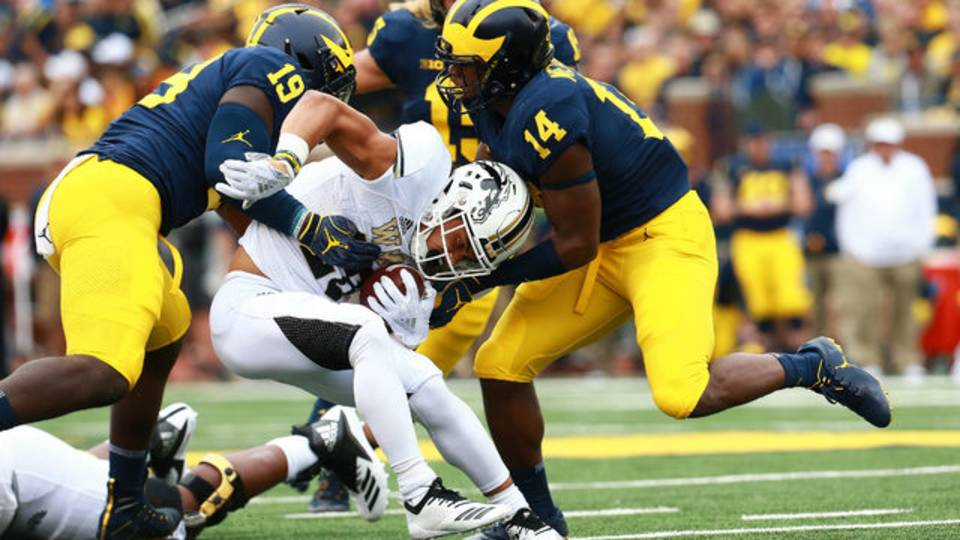 Kwity Paye tackle Michigan football vs Western Michigan 2018