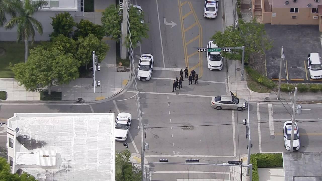 Sky 10 over scene of Miami cop injured in crash
