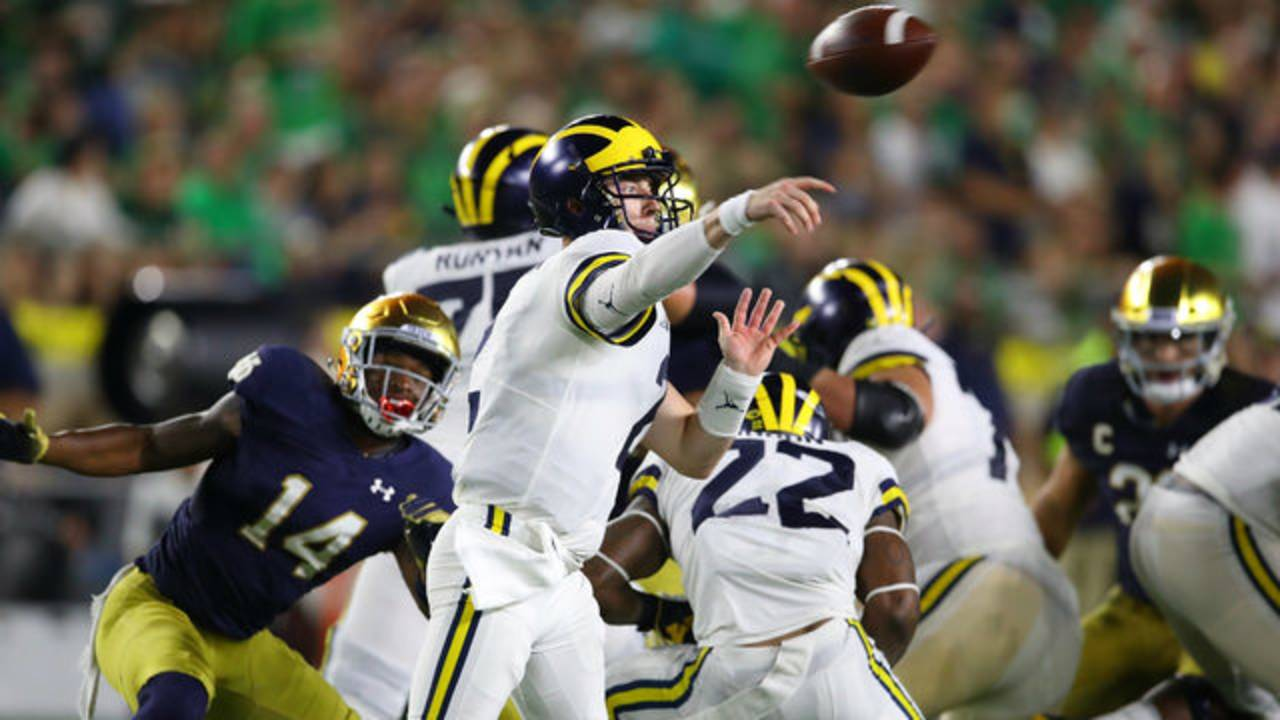Shea Patterson pass Michigan football vs Notre Dame 2018