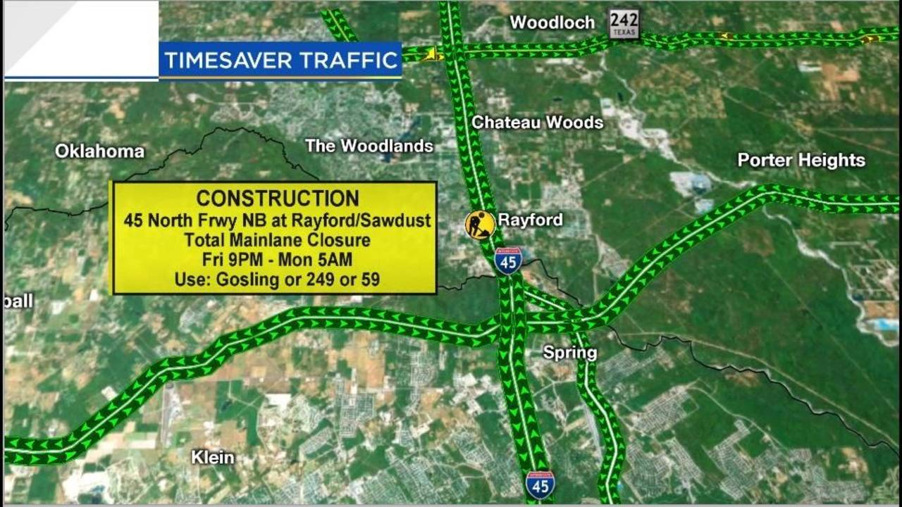 Click 2 Houston Traffic Map.Traffic Nightmare I 45 To Be Closed In The Woodlands This