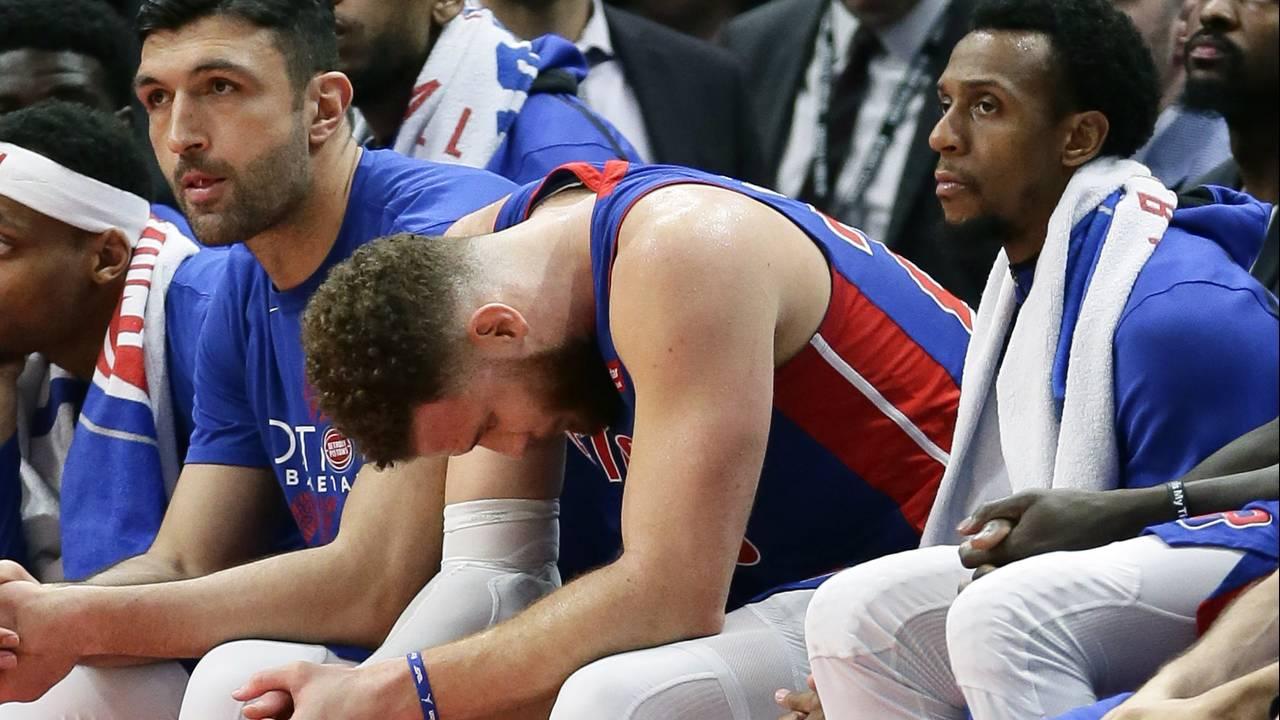 Blake Griffin sad Detroit Pistons 2019