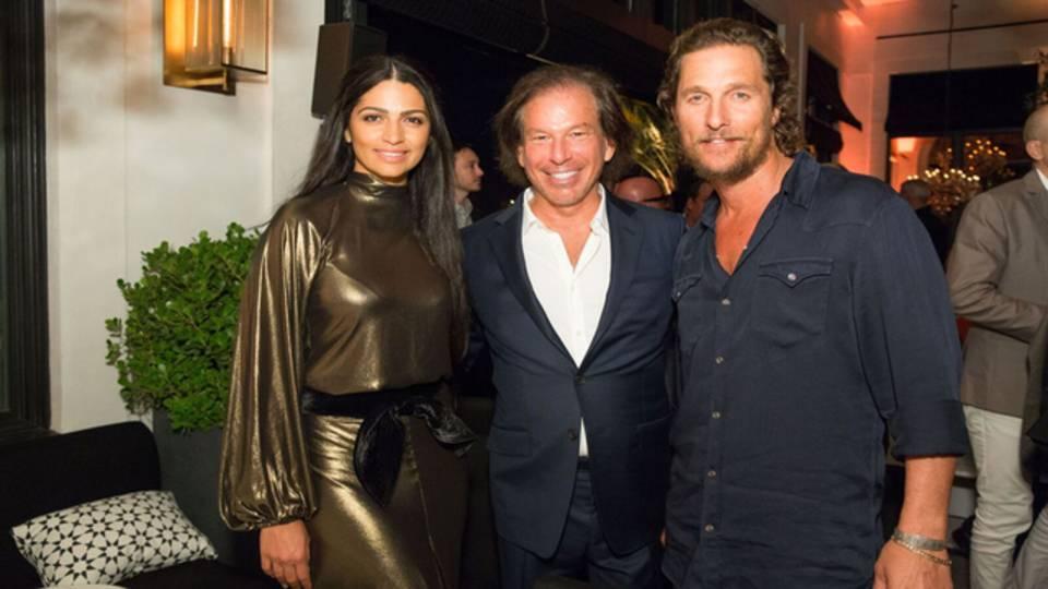 Matthew McConaughey, Camila Alves and RH West Palm CEO Gary Friedman