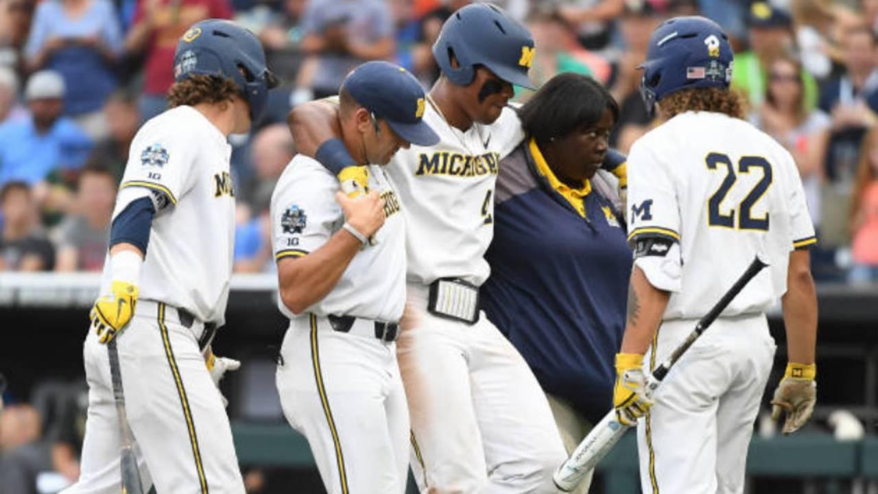 Jordan Nwogu injury Michigan baseball vs Vanderbilt 2019 College World Series CWS