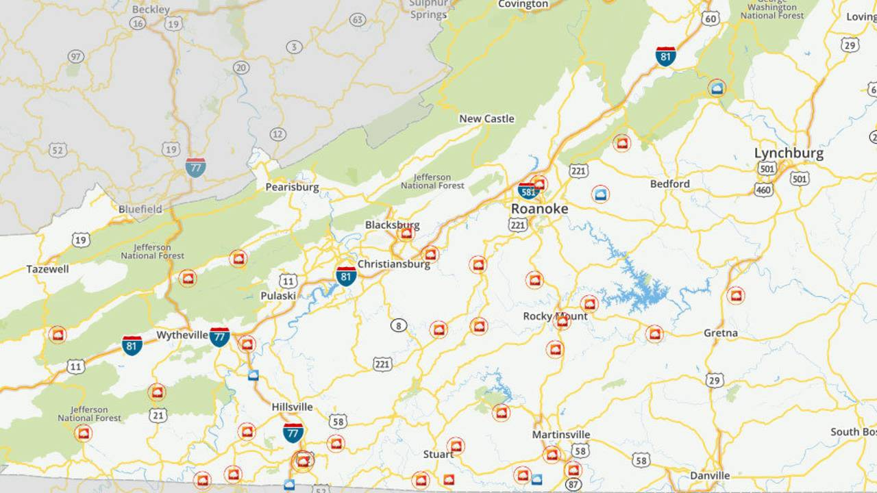 Central Virginia Map.Florence Causing Road Closures Across Southwest Central Virginia