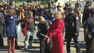 Jane Fonda handcuffed at climate event
