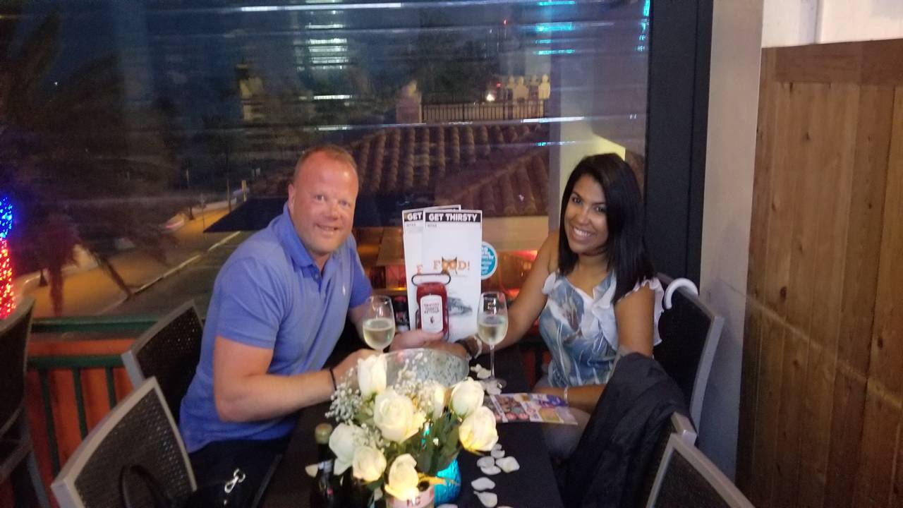 Arnold Kreijfelt and future bride at Hooters of Beach Place