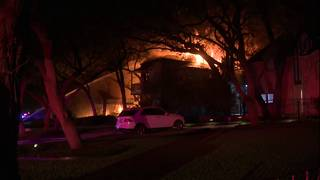 Crews battle large house fire on North Side, just west of UIW