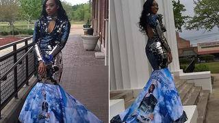 Teen Displays Picture of Her Late Father on Her Prom Dress
