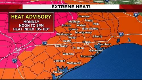 Heat advisory back in effect Monday for southeast Texas