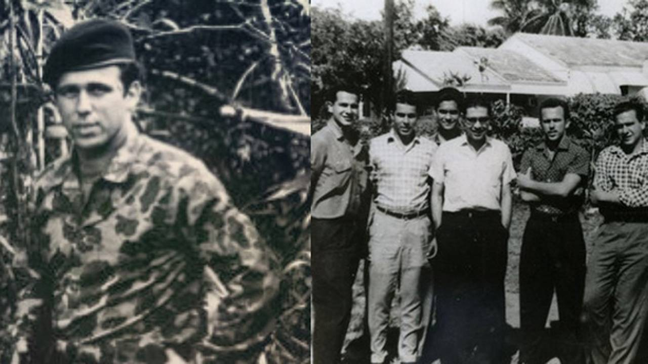 Edgar Sopo, left, was involved in anti-Castro activities. In group photo, he is the second from right to left.