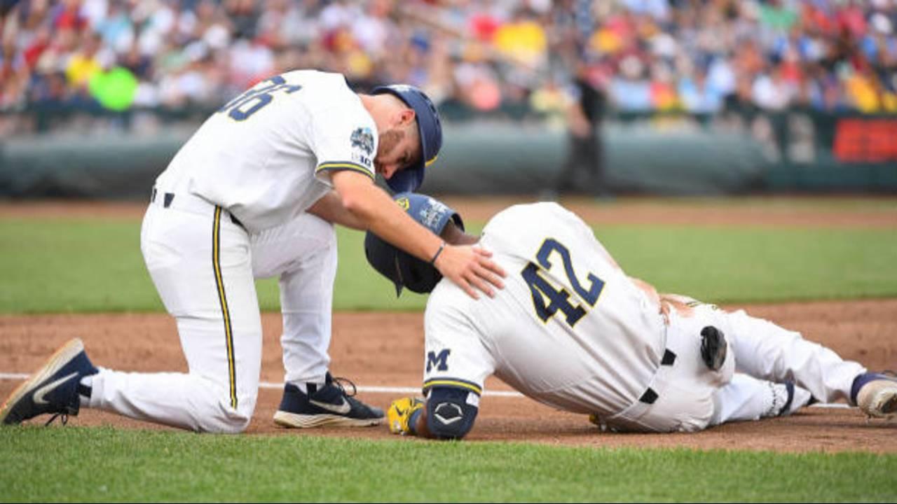 Jordan Nwogu injured Michigan baseball vs Vanderbilt 2019 College World Series CWS