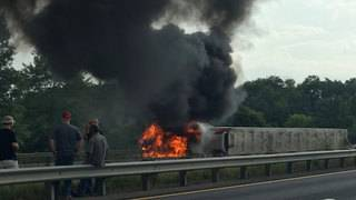 Tractor-trailer fire closes Interstate 81 North in Montgomery County