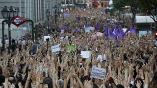 Thousands protest bail in Spain's 'wolf pack' case