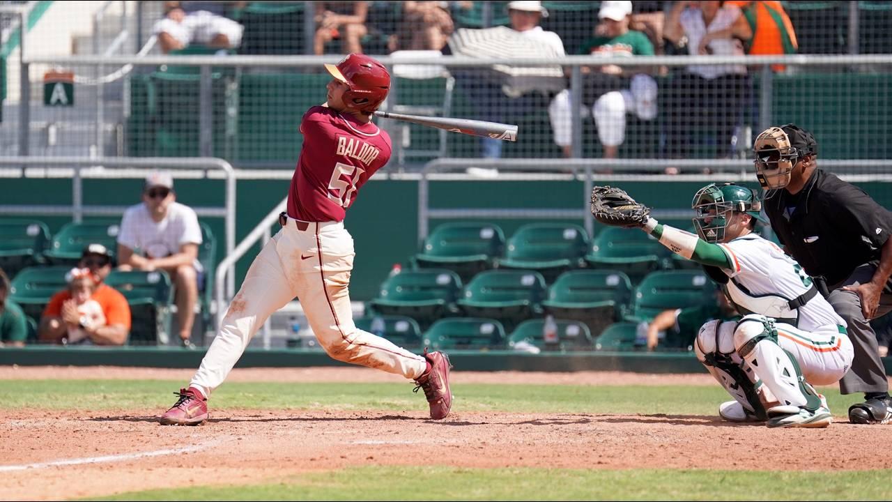 Florida State Seminoles first baseman Nico Baldor swings vs Miami Hurricanes, April 7, 2019