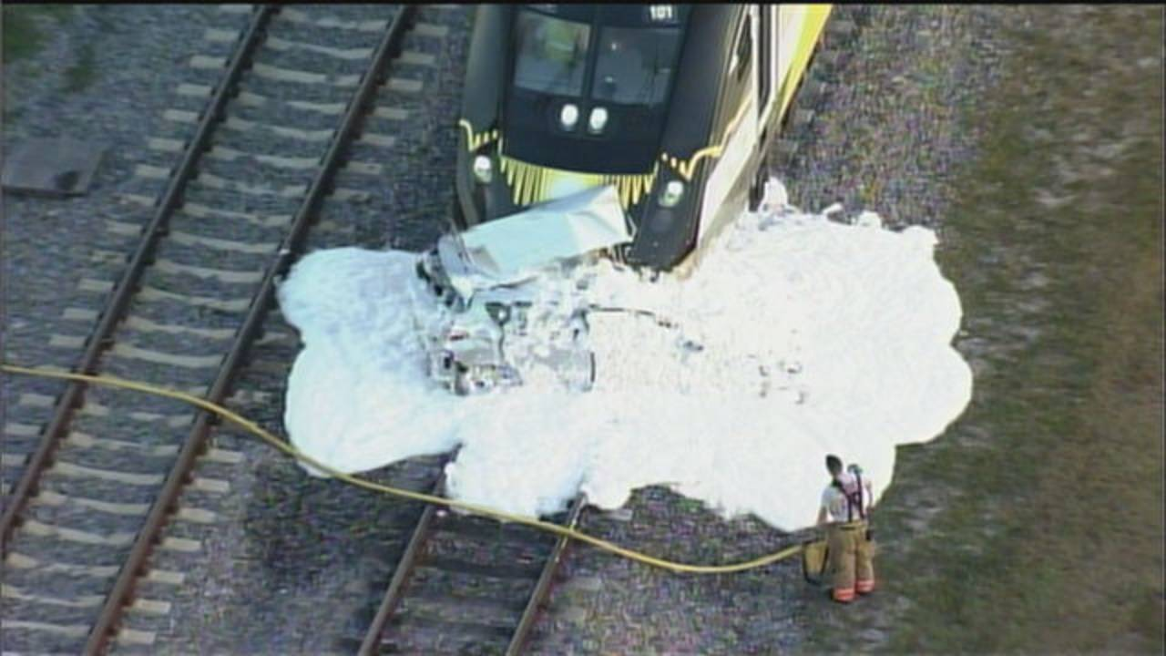 Sky 10 foam covers car hit by Brightline train