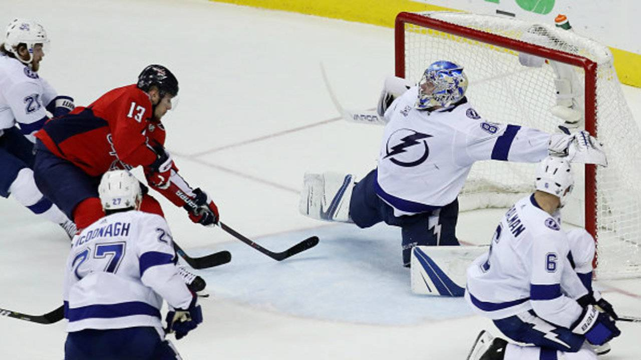 ... of the Tampa Bay Lightning defends against Jakub Vrana  13 of the Washington  Capitals in Game Six of the Eastern Conference Finals during the 2018 NHL  ... 8be9ce05c